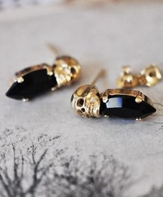 Gold skull and black jewel stud earrings