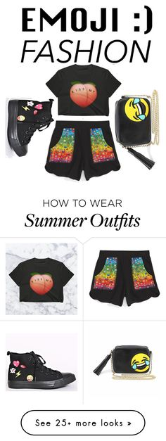 """Black emoji outfit"" by dessyaramadhanti on Polyvore featuring Terez and Olivia Miller"