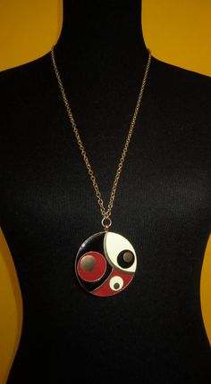 Vintage 60's Mid Century Retro Mod Art Deco Pop Art  Gold Red Black and Eggshell Enamel Painted Pendant Necklace on Etsy, $40.00