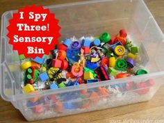 I Spy Three! Sensory Bin - Stir The Wonder