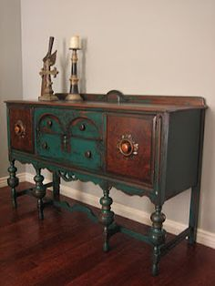 Peacock sideboard; i bet i could never duplicate this!