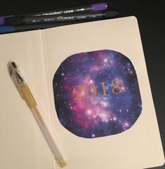 My 2018 Galaxy themed Bullet Journal.