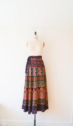 Vintage Wrap Skirt. Vintage Boho Hippie Maxi Skirt. VTG High Waist Batik Print Indian Cotton Festival Skirt.