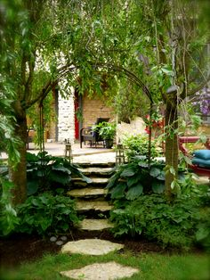 Lovely patio and shaded garden area looks relaxing! Garden Steps, Garden Paths, Outdoor Rooms, Outdoor Living, My Secret Garden, Secret Gardens, My Home Design, Shade Plants, Landscape Design
