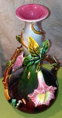 """c Early 1900s French Barbotine Majolica Vase Marked Orchies L'Herminé et Cie 12"""""""