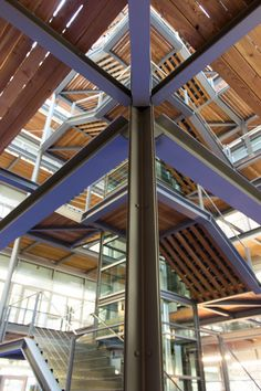 Light-flooded office building made of steel, wood and glass.