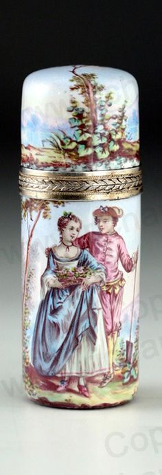 ANTIQUE c.1870 FRENCH ENAMELLED SCENT PERFUME BOTTLE, SILVER GILT MOUNTS. This item is sold, to visit my website to see what's in stock click here: http://www.richardhoppe.co.uk or for help or information email us here: info@richardhoppe.co.uk