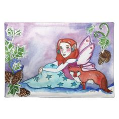 Fairy and a Fox Cloth Placemat Head Start, Placemat, Party Hats, Funny Cute, Holiday, Christmas, Birthday Parties, Art Pieces, Birthdays