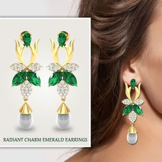 #radiant #charming #emerald #earrings #partycracker #greendressmatching