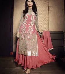 Buy Palevioletred net embroidered semi stitiched salwar with dupatta party-wear-salwar-kameez online