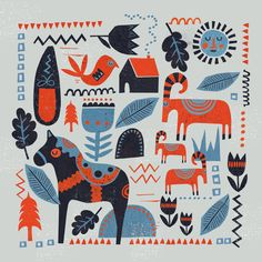Over the weekend I have been working on a scandinavian inspired print to be made into both a card and print for an upcoming show. Scandinavian art often includes geometric designs, foliage and anim...