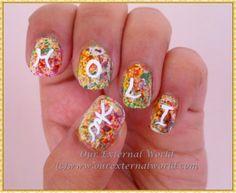 Holi Hai - Holi Nail Art - Splatter Colors (With Tutorial) #stnchallenges #nailart #holinailart #tutorial