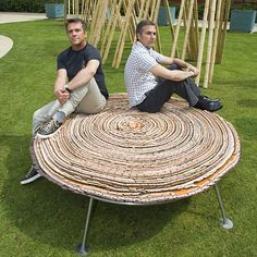 The Campana Brothers with a new outdoor edition of their 'Vitoria Regia' stools, specially designed to mark the V's 150th anniversary.