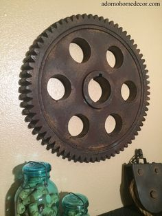Metal Gear Wall Art Industrial Antique Vintage Chic Modern Decor Widget