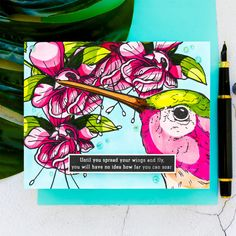 Colorado Craft Company   Cardmaking & Coloring in Graphic Style. Video + Giveaways     Yana Smakula Flower Stamen, Pen Collection, Penny Black Stamps, Copic Sketch Markers, Shops, Whimsy Stamps, Bird Cards, Heartfelt Creations, Pretty Cards