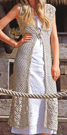 Patrón-un cardigan largo crochet primavera/verano/otoño