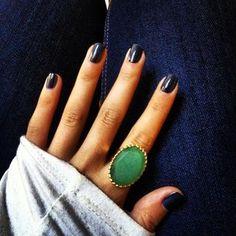 Large Green Stone & Gold Cocktail Ring | Camilla Ring | Stella & Dot