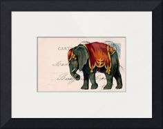 """""""Elephant Postcard Collage"""" by Cassie Peters, Washington, Iowa // All rights reserved  Angelandspot // Imagekind.com -- Buy stunning fine art prints, framed prints and canvas prints directly from independent working artists and photographers."""