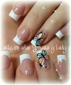 Just plain pretty Fingernail Designs, Toe Nail Designs, Perfect Nails, Gorgeous Nails, French Nails, Spring Nails, Summer Nails, Butterfly Nail Art, Gel Nagel Design