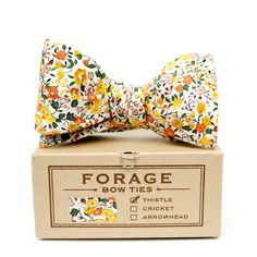 each FORAGE bow tie is hand crafted in limited numbers using new, vintage and deadstock fabrics. our bow ties must be hand tied but don't worry, practice makes perfect. they're adjustable in length, fitting neck sizes 14-18. each bow tie is packaged in a vintage style gift box with metal loop closures and coordinating swatch.