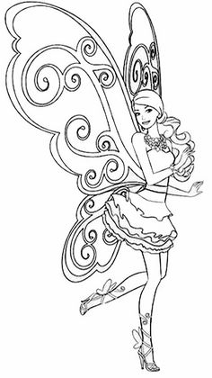 Coloriage Barbie féérique #barbie #coloriage #poupeemannequin
