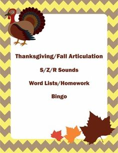 FREE Thankgiving - Fall - Autumn Articulation Activities - S/Z/R Speech Therapy. Repinned by SOS Inc. Resources pinterest.com/sostherapy/.