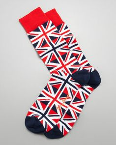Union Jack Men\'s Socks, Red/White/Blue by Arthur George by Robert Kardashian at Neiman Marcus.