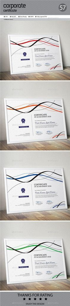 Buy Certificate by ConceptFactory on GraphicRiver. Certificate is especially for Corporate or Professional use. 4 different color and easy to modify. Stationery Printing, Stationery Templates, Stationery Design, Print Templates, Certificate Design, Certificate Templates, Print Design, Graphic Design, Print Print