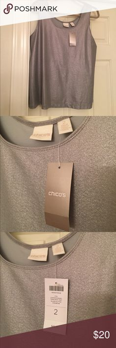 Chicos Silver Top - NWT - Large Fabulous nwt and just the top to make any ho hum outfit pop! chicos Tops