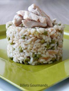 Un risotto tout simple dont toute la famille va raffoler ! - Recette Plat : Risotto au poulet et petits pois par Nadia J