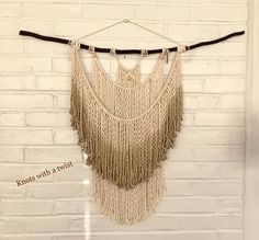 Ombré Blue Modern Macrame Wall Hanging with fringe hobo chic
