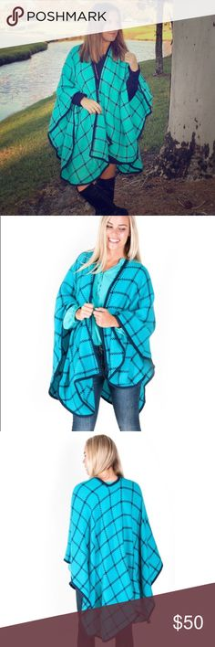 Coming Soon!❄️ Turquoise and Navy check shawl! Wrap yourself in the warm and cozy check shawl.Features an open front and a solid trim for s finished look. Perfect for those cold winter days ! This is a must have piece for you Fall/Winter wardrobe !  Seller favorite ! 100% acrylic All For Color Sweaters Shrugs & Ponchos