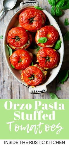 Delicious Stuffed Tomatoes. These tomatoes are stuffed with a creamy orzo and mushroom pasta and layered with mozzarella cheese. So delicious and perfect for lunch or dinner. | Cheese Stuffed Tomatoes | Italian Recipes | Italian Food | Healthy Pasta Recipes | #Insidetherustickitchen #pasta #tomatoes #Italianfood Italian Snacks, Healthy Italian Recipes, Healthy Pasta Recipes, Healthy Pastas, Veggie Recipes, Vegetarian Recipes, Healthy Food, Pot Pasta, Mushroom Pasta