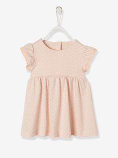d360a28c35d69 Robe bébé fille manches volantées rose pale imprime - Une jolie finition  volantée avec galon pompons