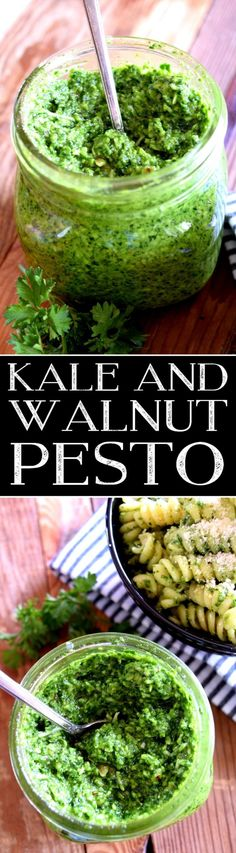 A simple to make, no cook, no bake, kale and walnut pesto - delicious and ready to toss with your favourite pasta!