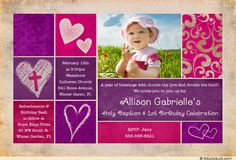 1st birthday and christeningbaptism invitation sample baptism birthday and baptism together invitations baptism birthday celebration pink purple hearts filmwisefo