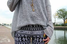 Grey marbled sweater with black and white tribal print leggings OMG I love this so much