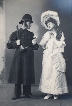 "Torquay Operatic Society (amateur), ""The Pirates of Penzance,"" 1906, Reg Reed and the Sergeant of Police and F. Edwards as Mabel, costume design heavily influenced by the costumes of the original DOC production and subsequent early DOC tours."