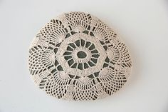 crochet covered rock lace stone beach wedding by TableTopJewels