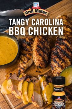 Looking for a quick and easy grilled chicken recipe? Give this tangy, sweet BBQ chicken a try. Get the recipe for the flavorful sauce featuring yellow mustard, vinegar, brown sugar, and Grill Mates Carolina Gold Seasoning. Grilled Chicken Recipes, Easy Chicken Recipes, Turkey Recipes, Meat Recipes, Dinner Recipes, Healthy Recipes, Seafood Recipes, Dinner Ideas, Recipies