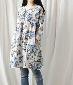 Cotton print dress/ casual loose dress/ doll long shirt cotton
