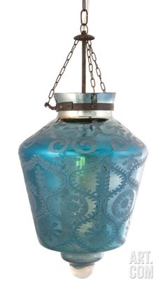 Mara Teal Etched Glass Pendant Lamp Home Accessories at Art.com