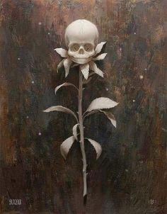Hot glue mini skeleton heads on fake rose stems and spray paint them for a haunting Halloween floral arrangement. Art Noir, Totenkopf Tattoos, Flower Skull, Skull And Bones, Skull Art, Tattoo Studio, Dark Art, Halloween Decorations, Creepy