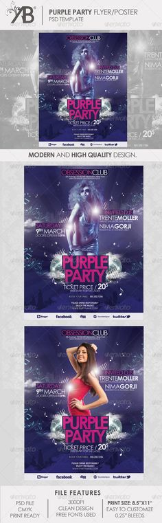 Purple Party Poster - Events Flyers