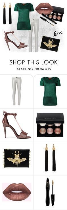 """metallic love"" by north40designs ❤ liked on Polyvore featuring rag & bone, Missoni, Pierre Hardy, Witchery, Yves Saint Laurent, Lime Crime, Lancôme, classic, metallic and metallicjeans"