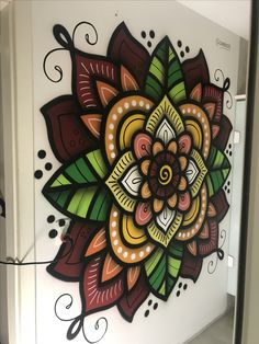 Wall Murals Painted Hands Ideas For 2019 Mandala Art, Mandala Painting, Wall Art Designs, Paint Designs, Wall Design, Mural Art, Wall Murals, Wall Drawing, Mandala Coloring