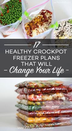Here are 17 healthy crockpot freezer meal plans that I've tried myself (free grocery lists included!) Slow Cooker Freezer Meals, Make Ahead Freezer Meals, Freezer Cooking, Easy Meals, Crockpot Frozen Meals, Freezer Meals For Crockpot, Crock Pit Meals, Meal Prep Freezer, Freezer Meal Recipes