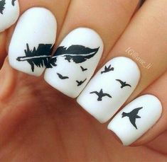 When it comes to nail art or manicures, there are so many choices. Feather design is one of the most popular nail art trend these days. Take a look at these creative feather nail art designs, which will make your nails truly stand out. Fancy Nail Art, Cute Nail Art, Fancy Nails, Love Nails, Gorgeous Nails, Pretty Nails, Perfect Nails, Feather Nail Art, Feather Design
