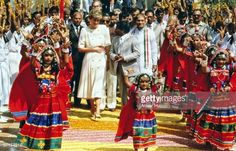 February 14 1992 Hyderabad, India: Princess Diana visits Hyberabad. The Princess Of Wales was welcomed by traditional dancers when she visited Hyderabad.