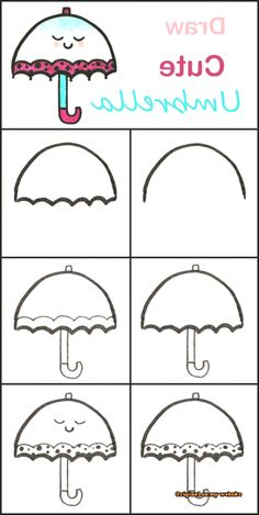 Learn to draw a cute umbrella step by step ♥ very easy . Learn to draw a cute umbrella step by step . Easy Drawing Tutorial, Easy Drawing Steps, Step By Step Drawing, Drawing Tips, Drawing Drawing, Drawing Ideas, Drawing Sketches, Learn Drawing, Doodle Art For Beginners